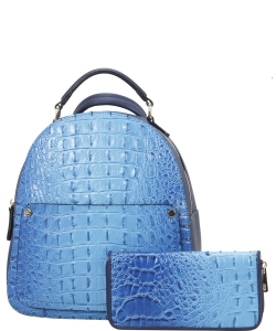Crocodile Embossed Convertible Backpack Wallet SET MH-CY6795W BLUE