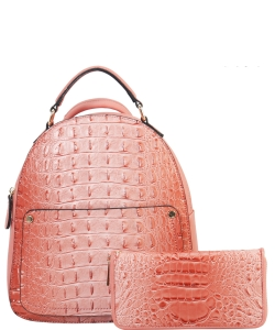 Crocodile Embossed Convertible Backpack Wallet SET MH-CY6795W PINK