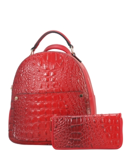 Crocodile Embossed Convertible Backpack Wallet SET MH-CY6795W RED