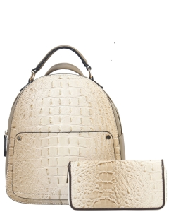 Crocodile Embossed Convertible Backpack Wallet SET MH-CY6795W TAUPE