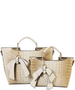 Fashion Faux Croc Tote Bag with Wallet CY6986 BIEGE