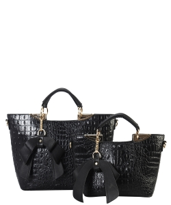 Fashion Faux Croc Tote Bag with Wallet CY6986 BLACK