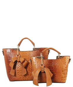 Fashion Faux Croc Tote Bag with Wallet CY6986 BROWN
