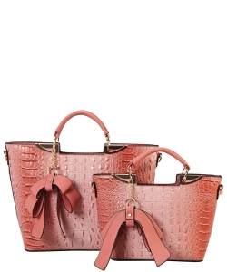 Fashion Faux Croc Tote Bag with Wallet CY6986 PINK