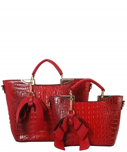 Fashion Faux Croc Tote Bag with Wallet CY6986  RED