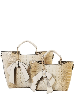 Fashion Faux Croc Tote Bag with Wallet CY6986  TAUPE