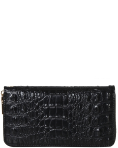 CROC Collection Vegan Leather Wallet Single Zip CY700  BLACK