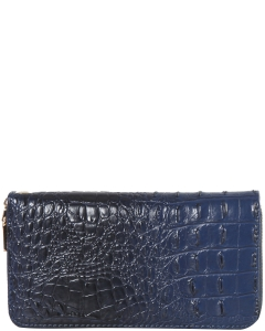 CROC Collection Vegan Leather Wallet Single Zip CY700 BLUE
