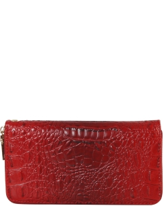 CROC Collection Vegan Leather Wallet Single Zip CY700  RED