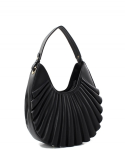 Ruffle Fashion Hobo Handbag D-0636 BLACK