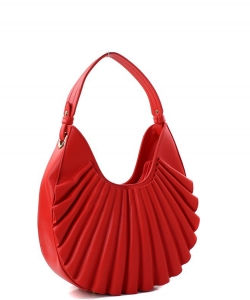 Ruffle Fashion Hobo Handbag D-0636 RED