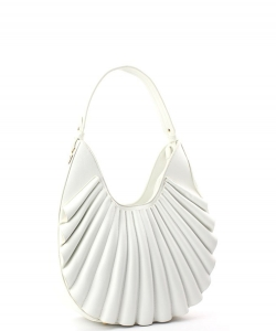 Ruffle Fashion Hobo Handbag D-0636 WHITE