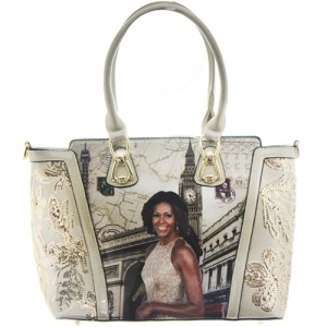 Michelle Obama Fashion Magazine Print Faux Patent Leather Handbag With Gold Embellishments  D1103 White