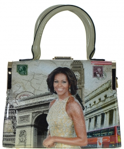 Fashion Magazine Print Faux Patent Leather Handbag With Gold Embellishments  D1110 APRICOT