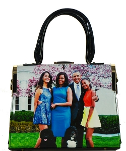 Michelle Obama Fashion Magazine Print Faux Patent Leather Handbag With Gold Embellishments  D1110 BLACK