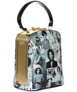 Michelle Obama Fashion Magazine Print Faux Patent Leather Handbag With Gold Harware D1215 BLACK/WHITE
