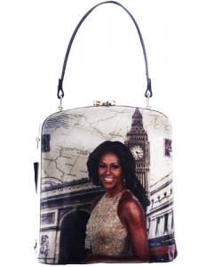 Fashion Magazine Print Faux Patent Leather Handbag With Gold Harware D1215 White