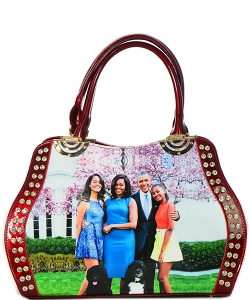Michelle Obama Fashion Magazine Print Faux Patent Leather Handbag With Gold Embellishments  B8365 RED