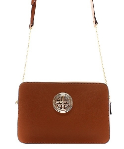 Messenger Handbag  Design Faux Leather Classic Style S038 39711  Dark Tan