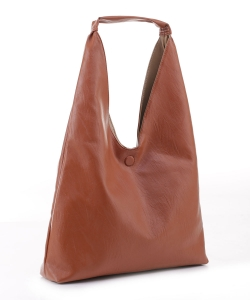 Reversible Vegan Leather Hobo Handbag DB19699 BROWN LTAUPE