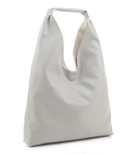 Reversible Vegan Leather Hobo Handbag DB19699 LGRAY BEIGE