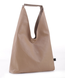 Reversible Vegan Leather Hobo Handbag DB19699 TAUPE LTAUPE