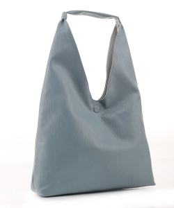 Reversible Vegan Leather Hobo Handbag DB19699 VBLUE LBLUE