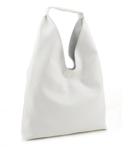 Reversible Vegan Leather Hobo Handbag DB19699 WHITE LBLUE
