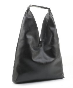 Reversible Vegan Leather Hobo Handbag DB19699 BLACK GRAY