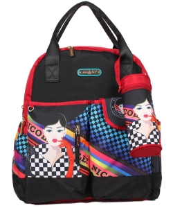 Nicole Lee Diaper Bag With Backpack and Shoulder Straps DIA12203 Racing Girl