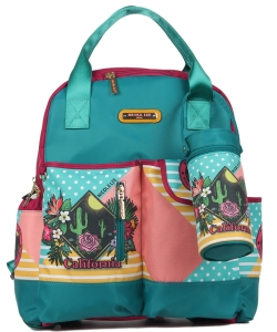 Nicole Lee Diaper Bag With Backpack and Shoulder Straps DIA12273  California Sunset