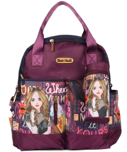 Nicole Lee Diaper Bag With Backpack and Shoulder Straps DIA12273 Girls Night Out