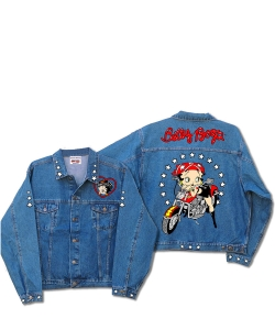 Betty Boop Biker Motorcycle Scoot Denim Jacket DJ-9022