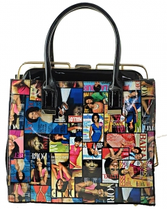 Michelle Obama Fashion Small  Magazine Print Faux Patent Leather Handbag With Gold Embellishments MULTI
