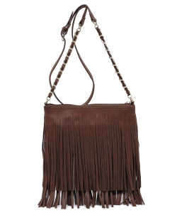 Faux Leather Fringe Hand Bag E031 COFFEE