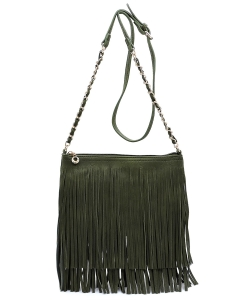 Faux Leather Fringe Hand Bag E031 HUNTER GREEN