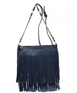 Faux Leather Fringe Hand Bag E031 NAVY