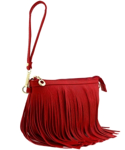 Small Fringe Crossbody Bag with Wrist Strap E091 WATERMELON