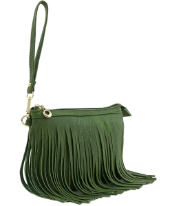 Small Fringe Crossbody Bag with Wrist Strap E091  OLIVE