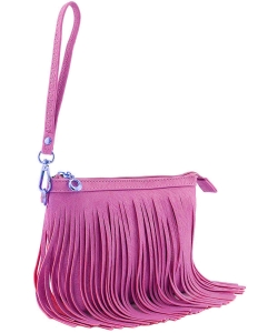 Small Fringe Crossbody Bag with Wrist Strap E091 RPINK