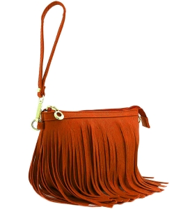 Small Fringe Crossbody Bag with Wrist Strap E091 BURNT ORANGE