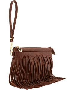 Small Fringe Crossbody Bag with Wrist Strap E091 COFFEE