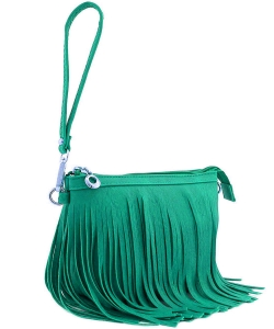 Small Fringe Crossbody Bag with Wrist Strap E091 GREEN
