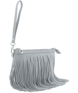 Small Fringe Crossbody Bag with Wrist Strap E091 GRAY