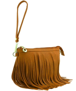 Small Fringe Crossbody Bag with Wrist Strap E091 MUSTARD