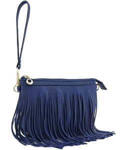 Small Fringe Crossbody Bag with Wrist Strap E091 NAVY
