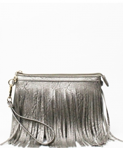 Small Fringe Crossbody Bag with Wrist Strap E091 PEWTER