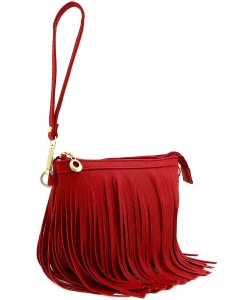 Small Fringe Crossbody Bag with Wrist Strap E091  RED