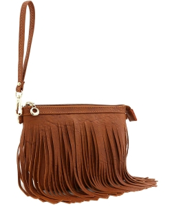 Small Fringe Crossbody Bag with Wrist Strap E091 TAN