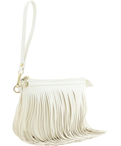 Small Fringe Crossbody Bag with Wrist Strap E091 WHITE